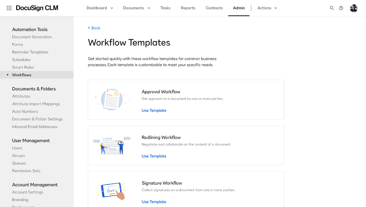 CLM workflow templates