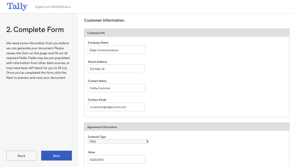 Screenshot of completing a form in the system