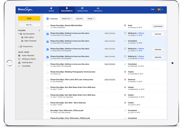 DocuSign document management experience