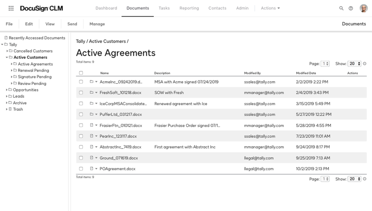 Screenshot of a searchable repository for active agreements in the system
