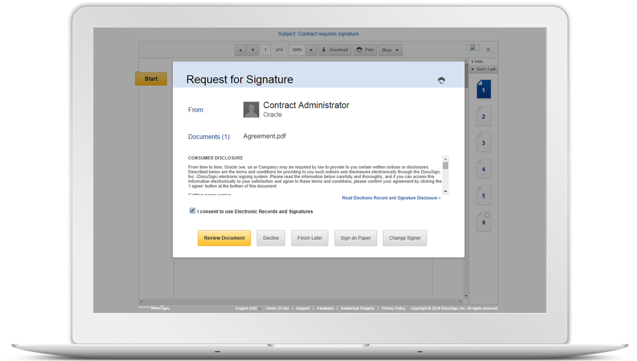Oracle cloud solutions and electronic signatures